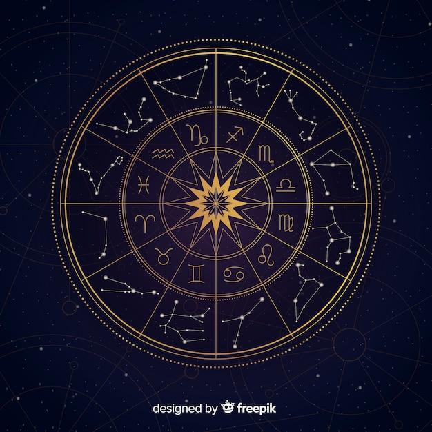 Ruota dello zodiaco Vettore Premium