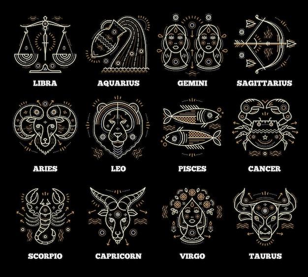 Simboli zodiacali e astrologici. elementi grafici. Vettore Premium