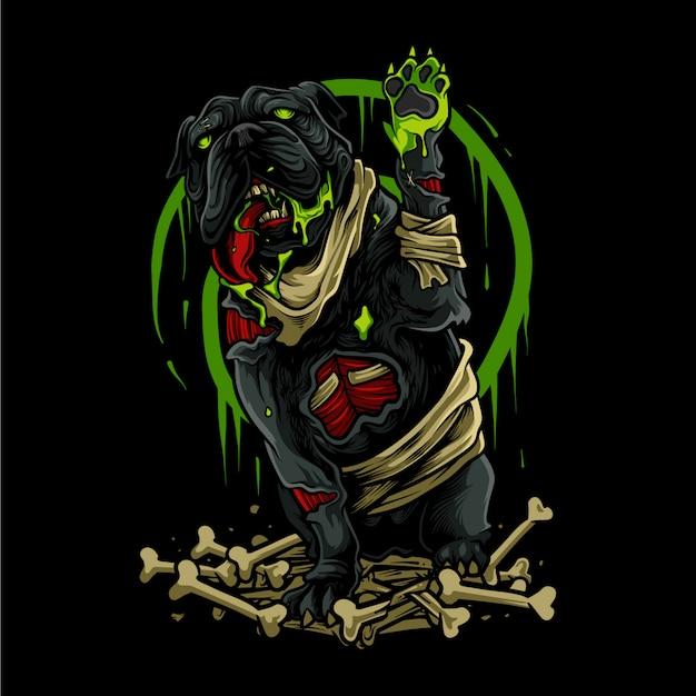 Illustrazione di halloween cane zombie Vettore Premium