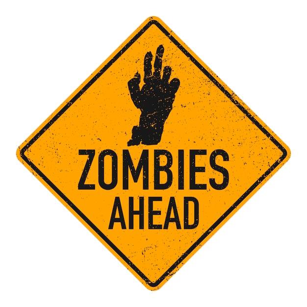 Segno zombie avanti. Vettore Premium