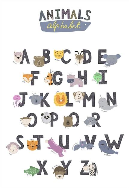 Alfabeto dello zoo. lettere maiuscole nere con ornamenti e simpatici animali. lettere dalla a alla z. animali del fumetto disegnati a mano. animali diversi. alpaca, orso, cervo, elefante, panda, giraffa e altri. Vettore Premium