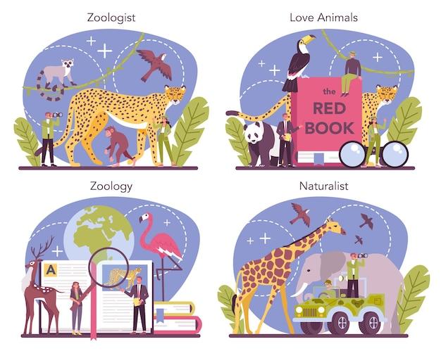 Insieme di concetto di zoologo. scienziato che esplora e studia la fauna. studio e protezione di animali selvatici, naturalista in spedizione nella natura selvaggia. illustrazione vettoriale isolato Vettore Premium