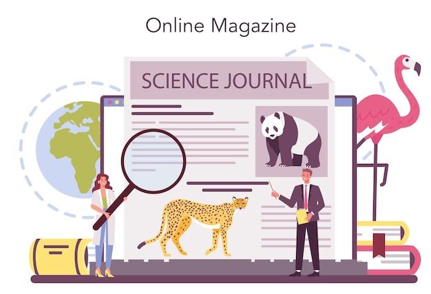 Servizio online di zoologo o illustrazione della piattaforma Vettore Premium