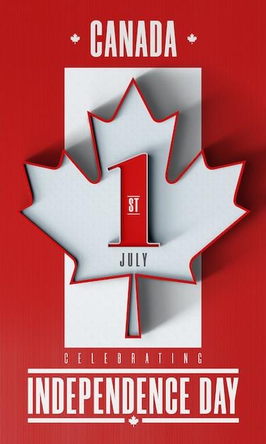 1 juli celebrading de dag van de onafhankelijkheid in canada - bewerkbaar Premium Psd