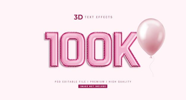 100k 3d-tekststijleffectmodel Premium Psd