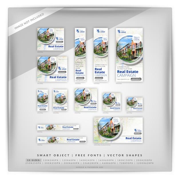 140 mapa de bienes raíces google banner set PSD Premium