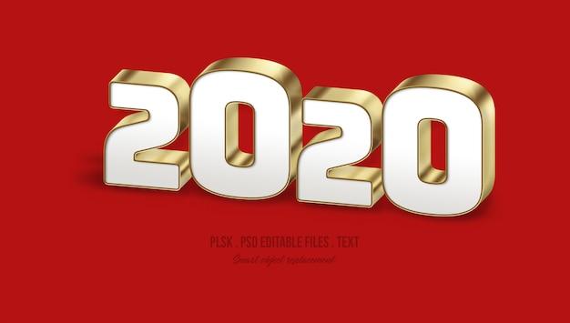 2020 effetto di stile testo 3d Psd Premium