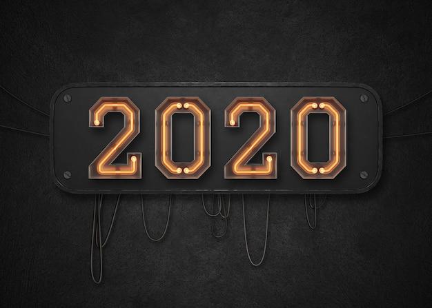 2020 felice anno nuovo sfondo Psd Premium