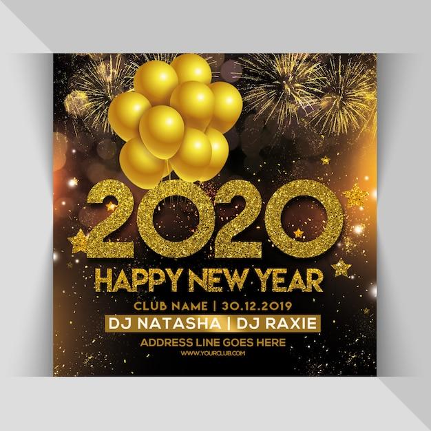 2020 feliz año nuevo fiesta fiesta flyer cuadrado PSD Premium