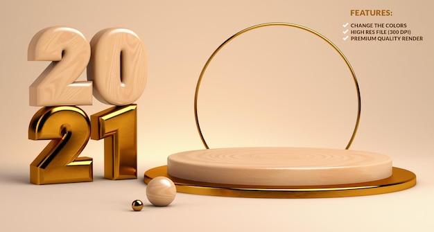 2021 houten en gouden podium voor productpresentatie in 3d-rendering Premium Psd