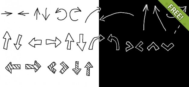 30 gratis black & white hand drawn arrows Gratis Psd