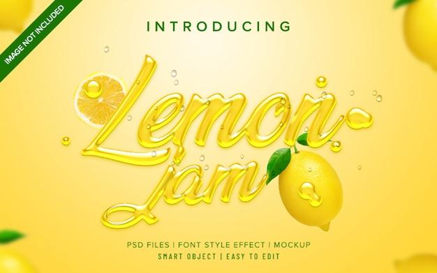 3d citroen jam lettertype stijl effect sjabloon Premium Psd