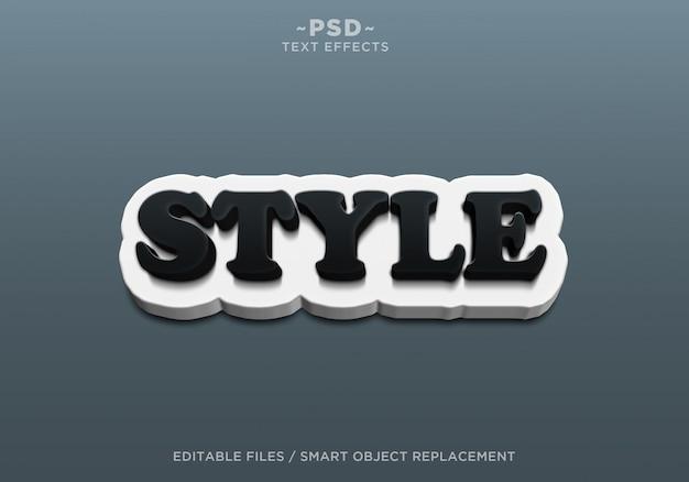 3d creëer stijl zwart wit bewerkbare teksteffecten Premium Psd