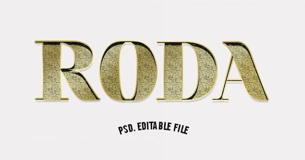 3d document sneed het gouden effect van de textuurtekst Premium Psd