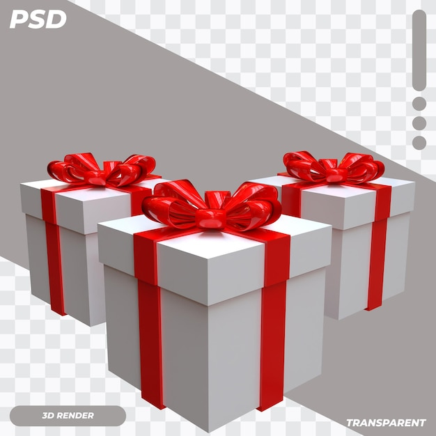 3d-doos met rood lint Premium Psd