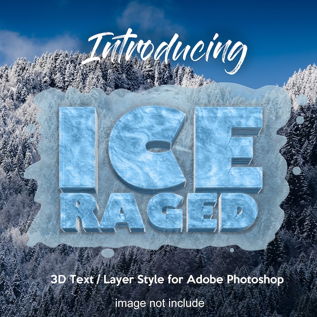 3d effetti di stile di testo layer congelati di photoshop ghiaccio Psd Premium