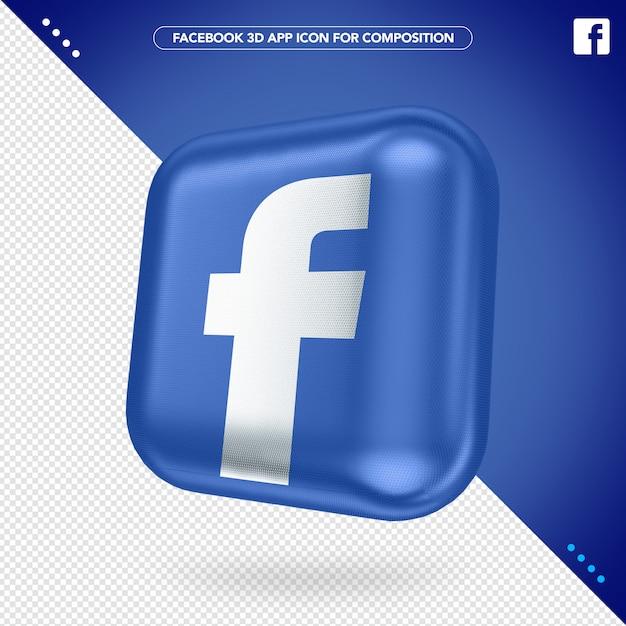 3d facebook-app gedraaid knopmodel Premium Psd