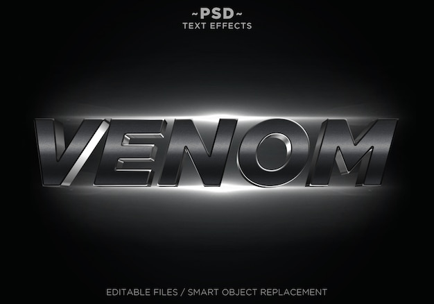 3d filmische zwarte venom effecten bewerkbare tekst Premium Psd