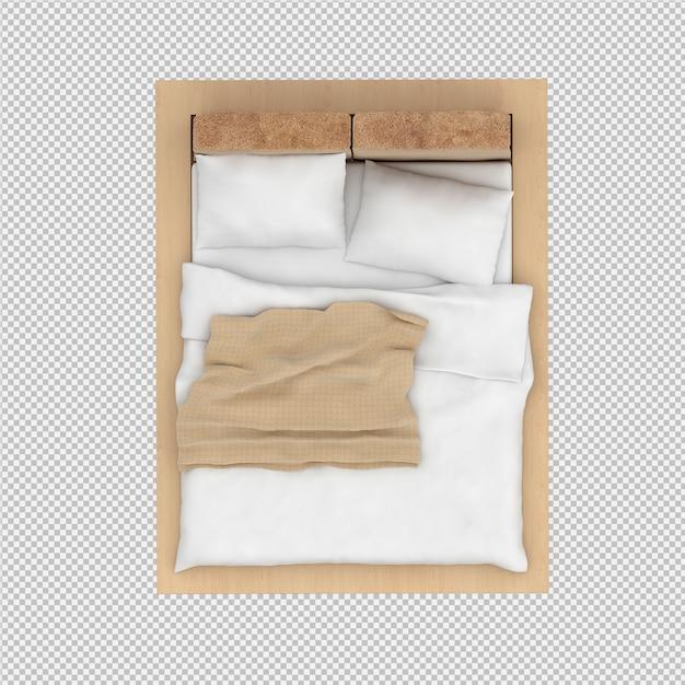 3d geef van isometrisch bed terug Premium Psd