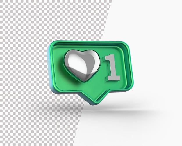 3d glanzend zilveren hart op een meldingspictogram Gratis Psd