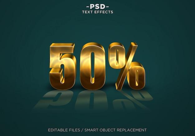 3d gold discount 50% effetti testo modificabile Psd Premium