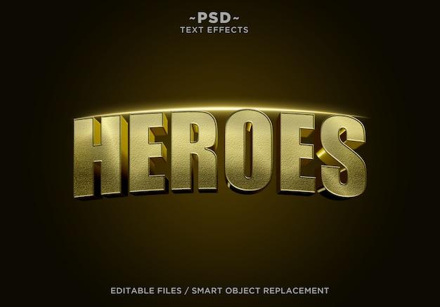 3d golden heroes cinematic effect bewerkbare tekst Premium Psd