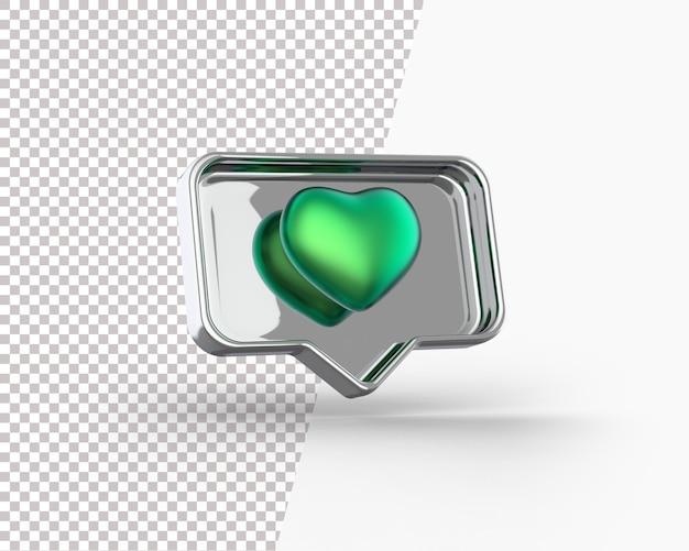 3d gouden hart op een meldingspictogram Gratis Psd