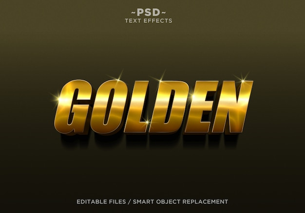 3d gouden stijl 4 effect bewerkbare tekst Premium Psd