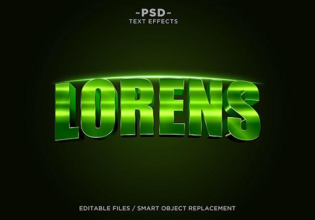 3d-groene lorens filmische effect bewerkbare tekst Premium Psd