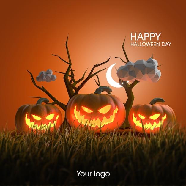 3d halloween-posterontwerpmodel Premium Psd