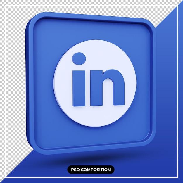 3d illustratie linkedin pictogram Premium Psd