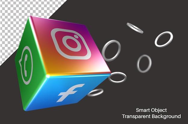 3d kubiek met instagram social media-logo Premium Psd