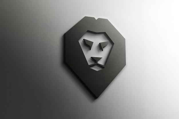 3d lion logo mockup Gratis Psd