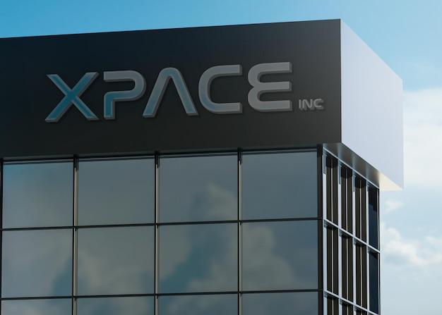 3d-logo mockup moderne gevel chroom bord op een gebouw Premium Psd