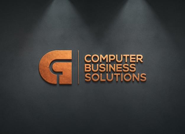 3d-logo mockup op donkere muur Premium Psd