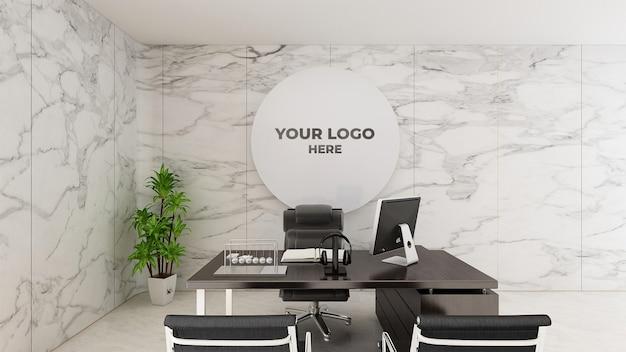 3d-logo mockup realistische teken kantoor witte muur Premium Psd