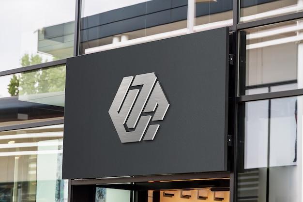 3d-logo op een storefront-mockup Premium Psd