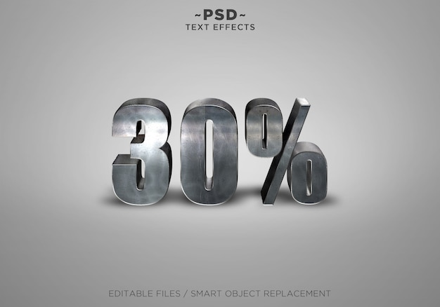 3d metal discount 30% effecten bewerkbare tekst Premium Psd