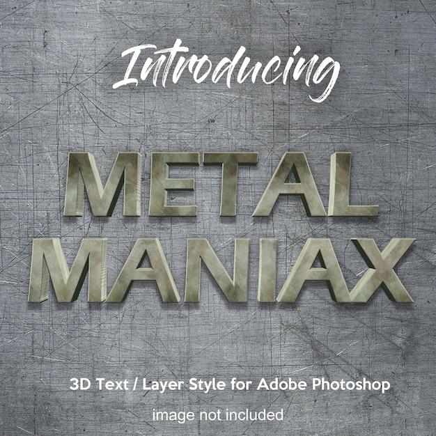 3d metal iron chrome effetti di testo in stile photoshop Psd Premium