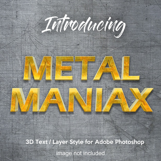 3d metal iron chrome effetti di testo in stile photoshop Psd Premium