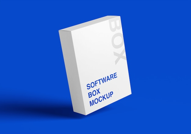 3d mockup van de softwarebox Premium Psd
