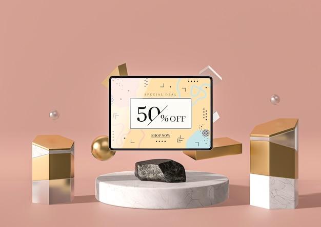 3d-model digitale tablet vooraanzicht met marmer Gratis Psd