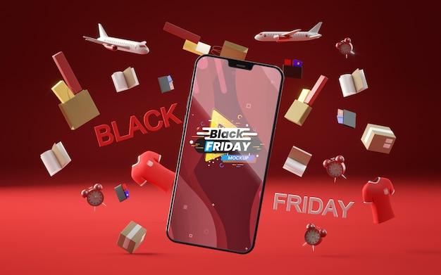 3d-objecten en telefoon voor zwarte vrijdag op rode achtergrond Gratis Psd