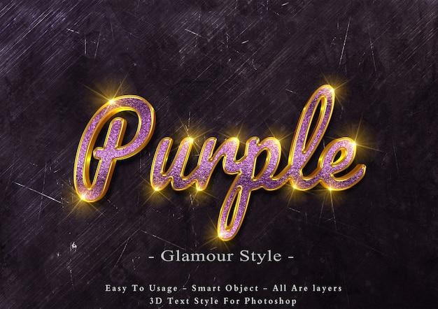 3d-paarse glamour tekst stijl effect Premium Psd