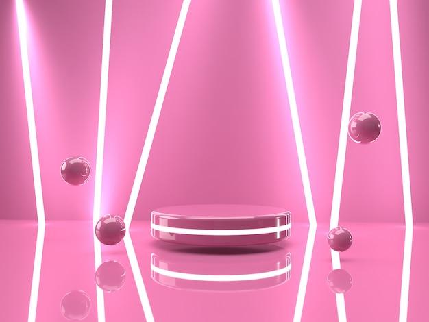 3d que rinde el soporte rosado del producto en fondo. PSD Premium