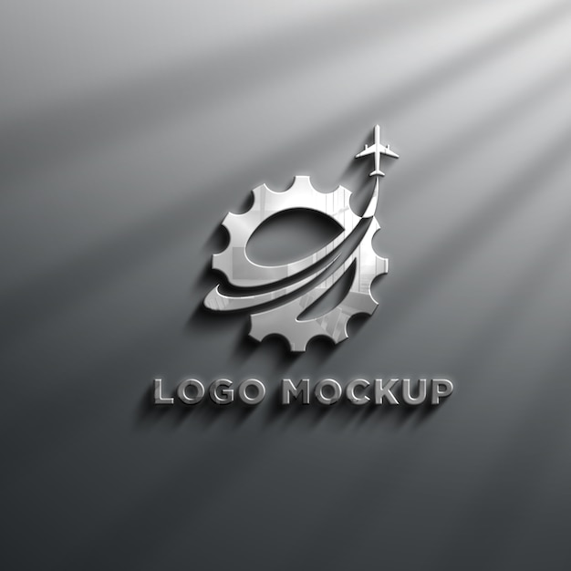 3d-realistische chrome-effecten logo mockup Premium Psd