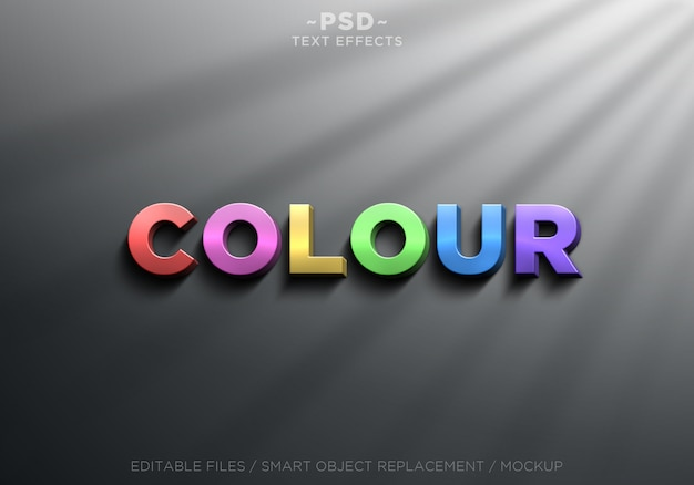 3d-realistische kleureffecten bewerkbare tekst Premium Psd
