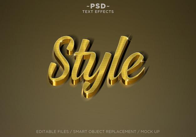 3d-realistische stijl gouden effecten bewerkbare tekst Premium Psd