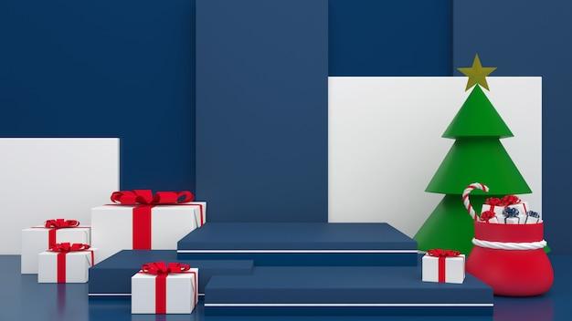 3d render display blauwe achtergrondkleur prettige kerstdagen en gelukkig nieuwjaar mockup Premium Psd