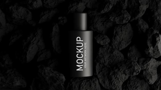 3d render van cosmetica voor mockup branding met zwart concept Premium Psd